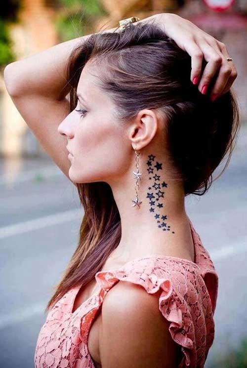 under ear star tattoo design