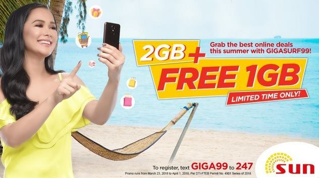 Sun Gigasurf 99 Now Comes with 3GB of Data and Unli All-Net Texts