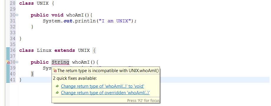 Overwriting a method in java