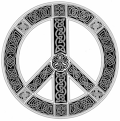 Celtic knots peace sign circle tattoo stencil