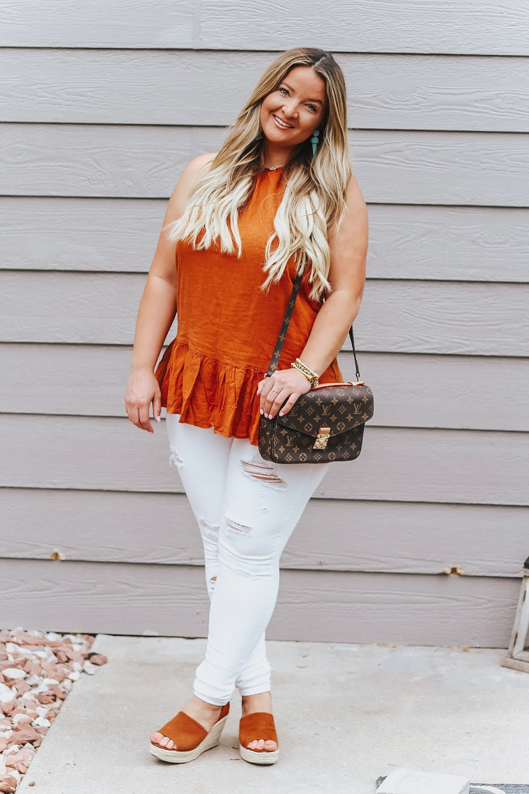 Orange Outfit featured by popular Denver fashion blogger, Delayna Denaye
