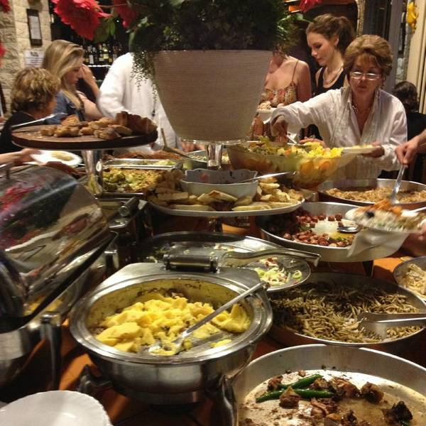 Maya Restaurant buffet of food for aperitivo in Navigli Milan