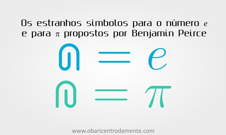 Símbolos propostos por Benjamin Peirce para designar pi e o número e