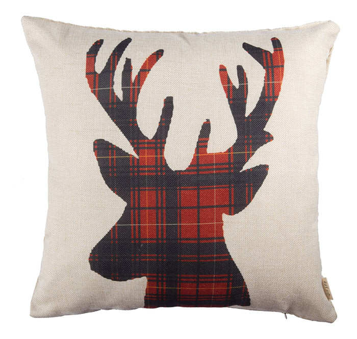 Red Plaid Deer Pillow