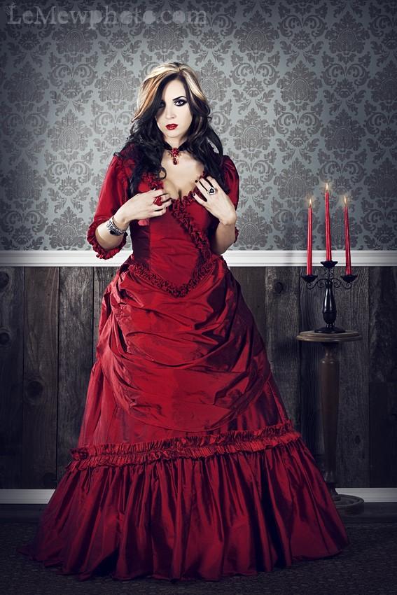Steampunk Fashion Guide: Scarlet Silk Steampunk Ball Gown