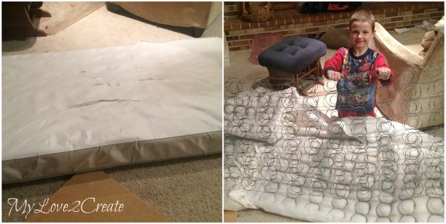 Using padding from and old crib mattress for pallet upholstered bench