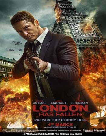 Poster Of London Has Fallen 2016 ORG Dual Audio 300MB BRRip 480p ESubs Free Download Watch Online Worldfree4u