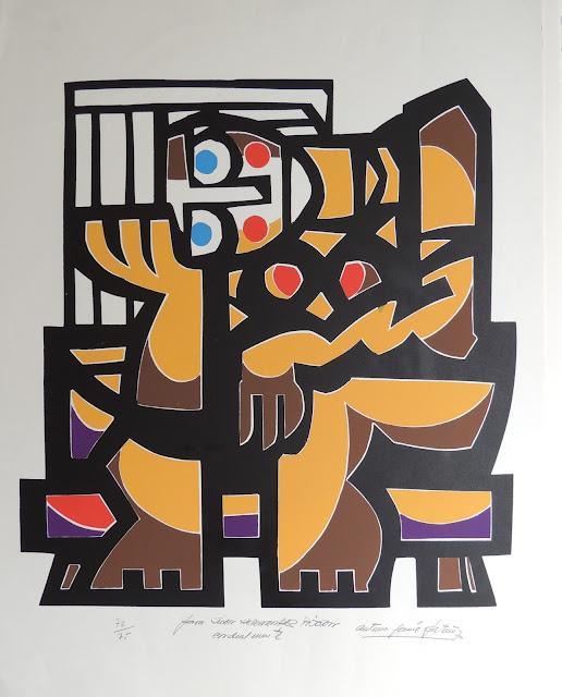 Antonio Patiño arte serigrafía figura abstracta sentada cubismo