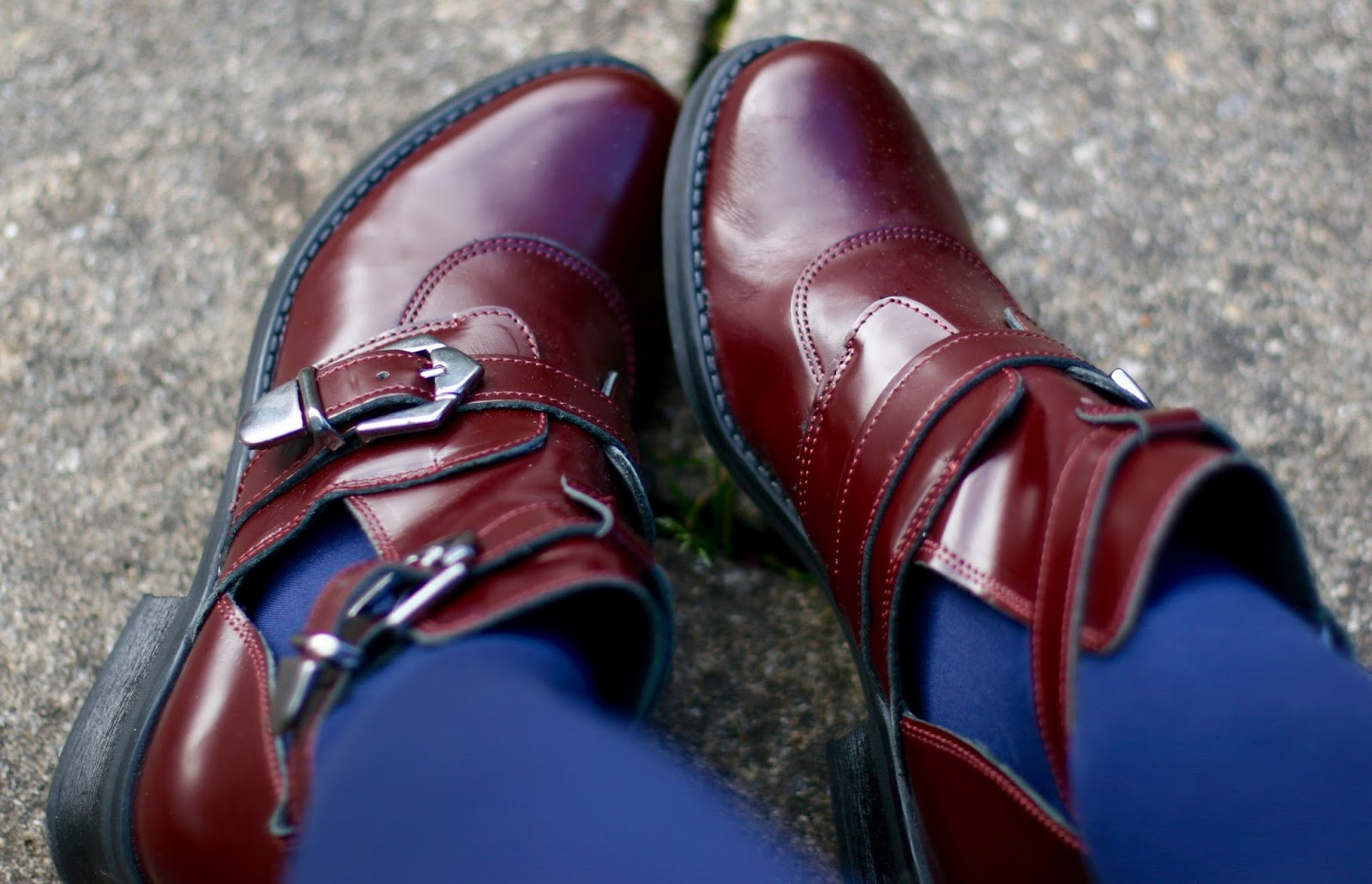 La Redoute, Oxblood red leather boots, Blue tights.