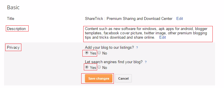 Write down your blog description this section then set your privacy option then click save changes to finish setup