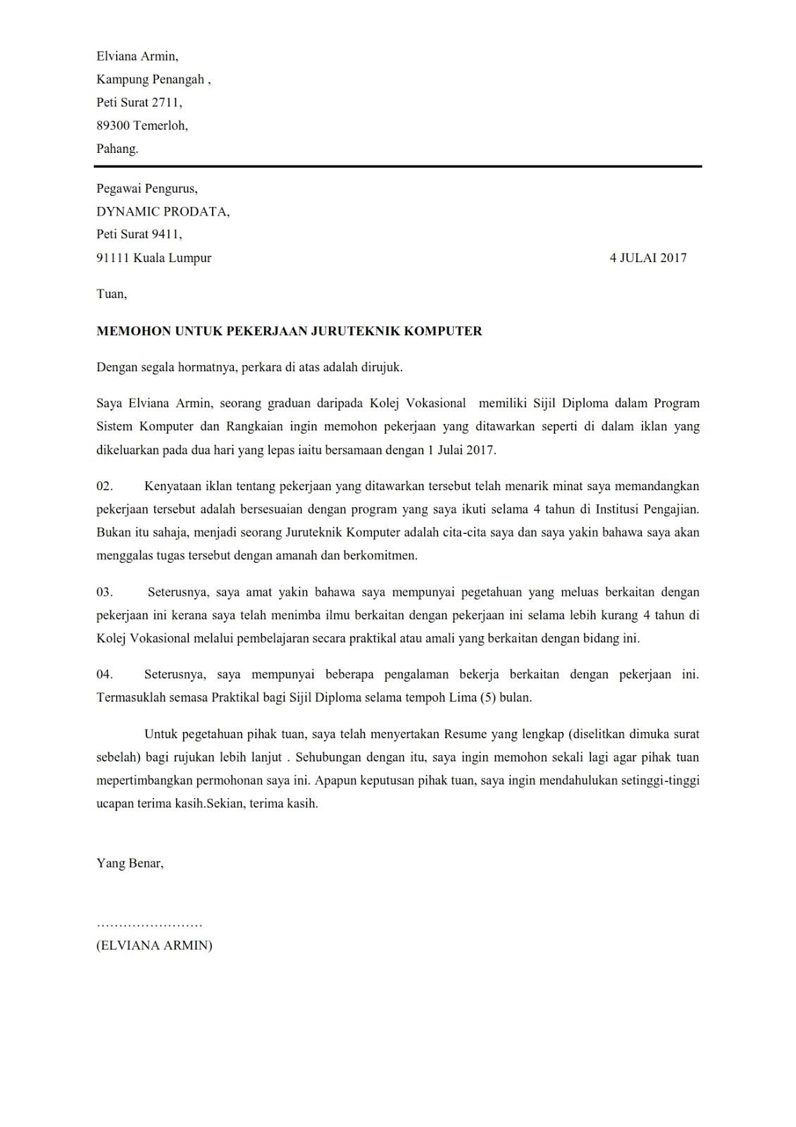 Surat Rasmi Format 2016 Lamaran H