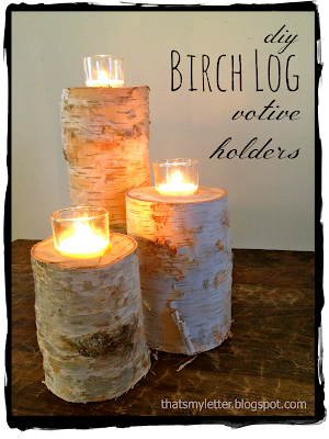 diy birch log votive holders
