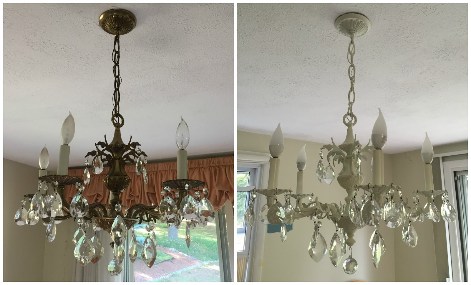 One Of The Things I Wanted To Keep In Our New Home Was This Chandelier But Brass Needed An Update