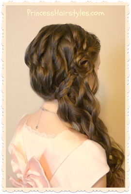 Glamorous side swept hairstyle with curls