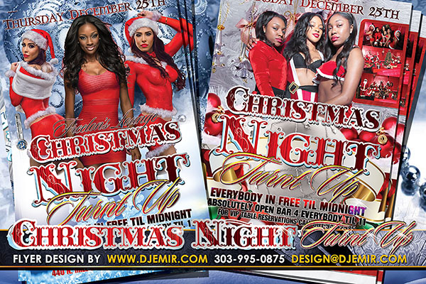 Christmas Night Turnt Up Sexy Santa Party Flyer Design