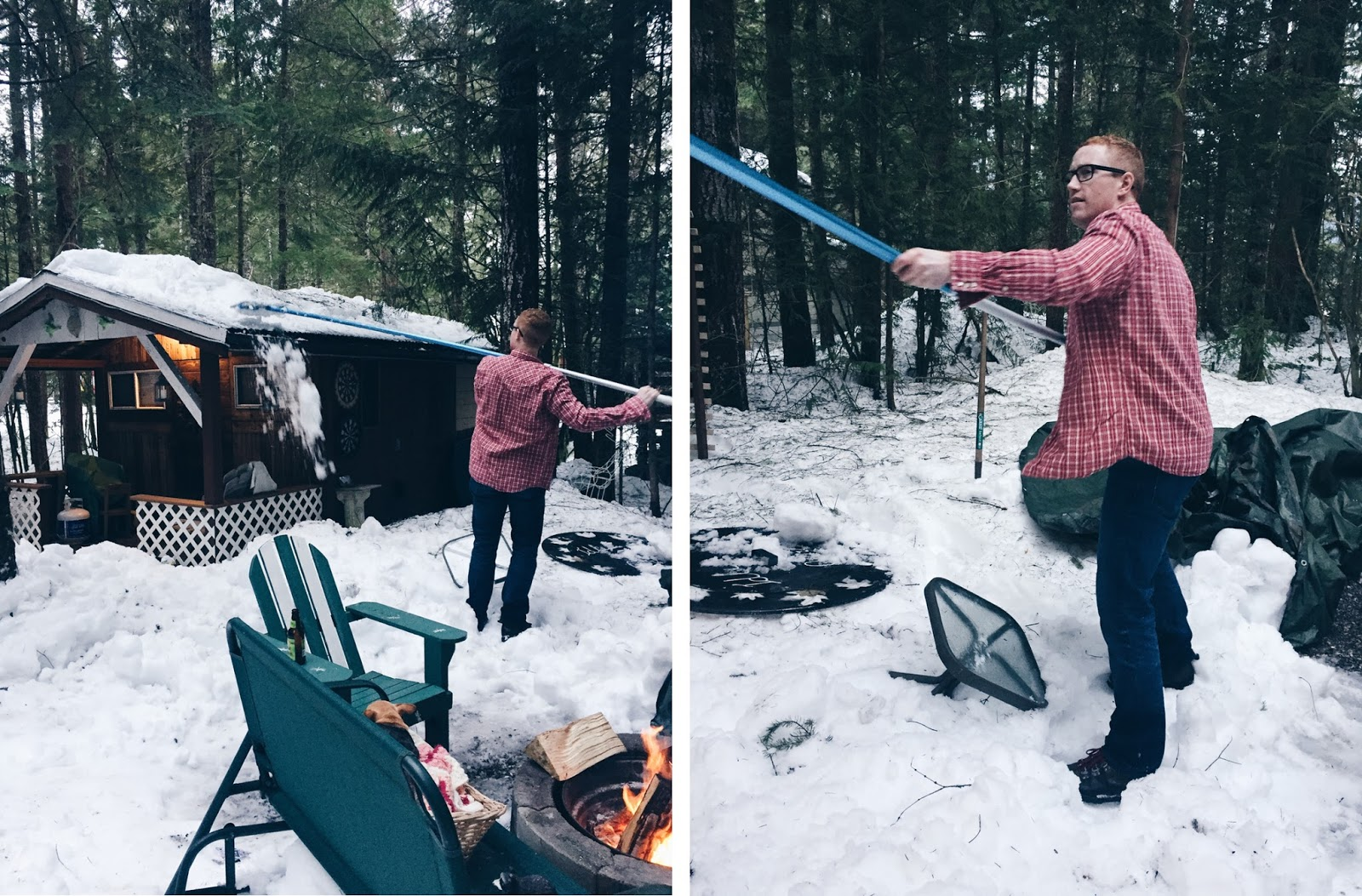 red flannel shirt shovelling snow at the cabin