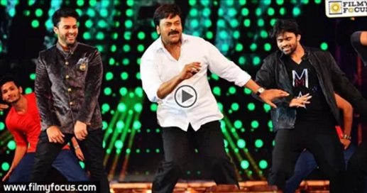 Telugu superstar and politician Chiranjeevi gave an energetic display of his legendary dancing skill at the CineMAA Awards 2016 in Hyderabad on Sunday.  The video, which shows him breaking into his signature dance moves, to his hit number Chiki Chiki Chelum from Gang Leader has gone viral.  Though a bit reluctant to dance, Chiranjeevi had to bow to the public adulation and was accompanied by  younger stars Sunil, Srikanth, Navadeep and Sai Dharam Tej.