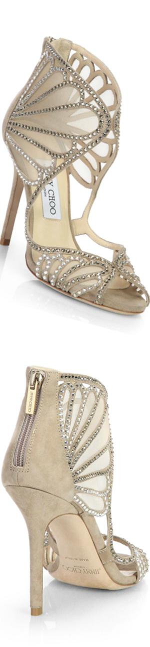 Jimmy Choo Kole Crystallized Suede Sandals