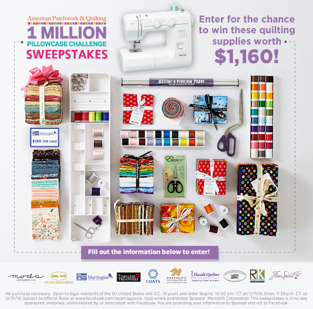 American Patchwork & Quilting is giving away a ton of quilting supplies and a Baby Lock BL9 sewing machine worth over $1000 to one lucky crafter!