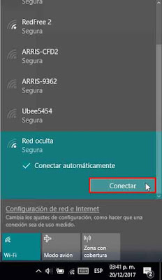 conectarse a la red oculta windows 10