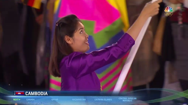 Cambodia delegation flag bearer purple uniform outfit Rio 2016 Olympics Opening Ceremony