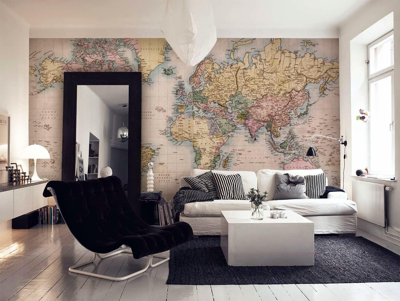 kart tapet Tanker og drømmer   herifra og mot fremtiden: Tapet, panelplater  kart tapet