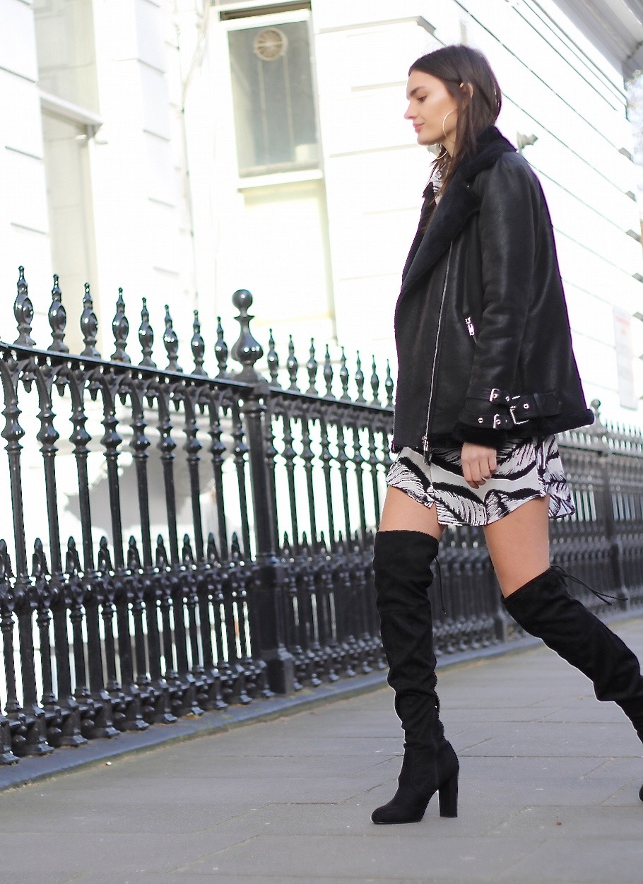 aviator jacket knee high boots peexo blogger