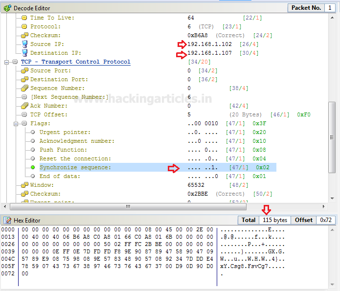 DOS Attack with Packet Crafting using Colasoft