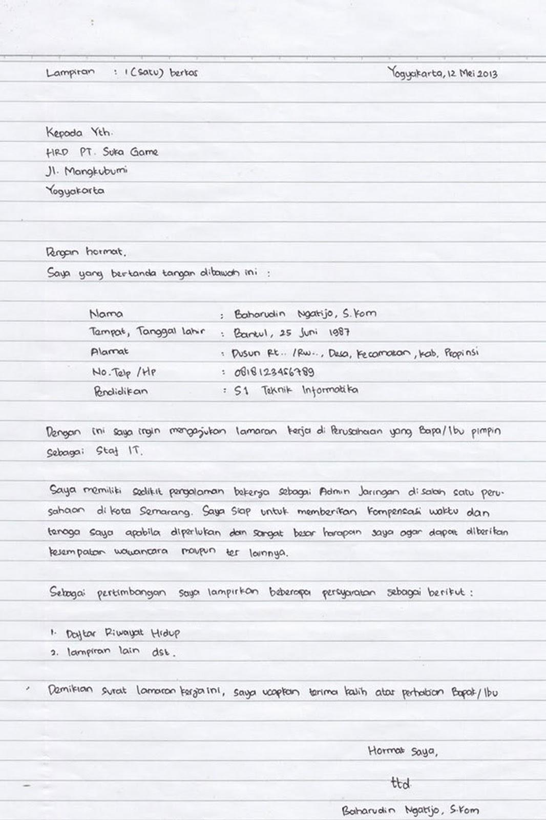 Contoh Surat Lamaran Kerja Tulisan Tangan Yang Baik Dan Benar