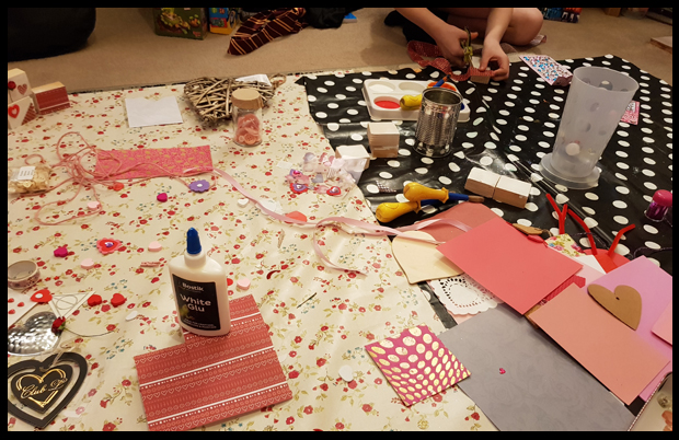Prepping our room for a day of crafting thanks to Tots100 and Bostik