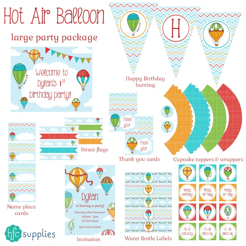 Hot Air Balloons printable party package on hfcSupplies Etsy by hazelfishercreations