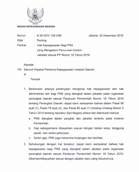 Surat Kepala BKN Tentang Hak Kepegawaian Bagi PNS Yang Mengalami Penurunan Eselon Jabatan Sesuai PP 18 Tahun 2016