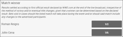 Roman Reigns .vs. John Cena No Mercy 2017 Betting Odds