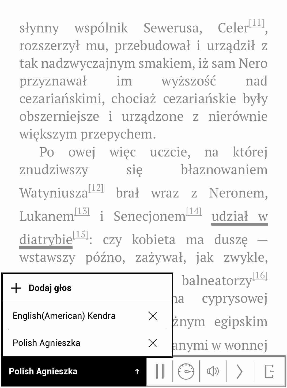 Wybór głosu w aplikacji syntezatory mowy na czytniku PocketBook TouchHD2