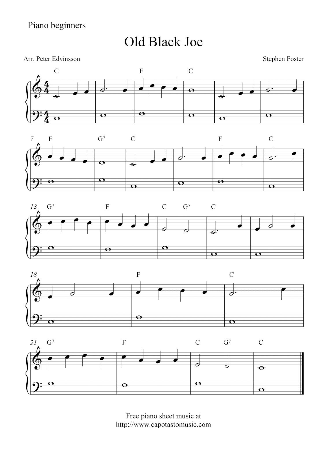 Free Printable Piano Sheet Music Pop Songs Beginners
