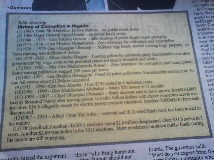 Here's how a UK newspaper ranked looting in Nigeria according to heads of state