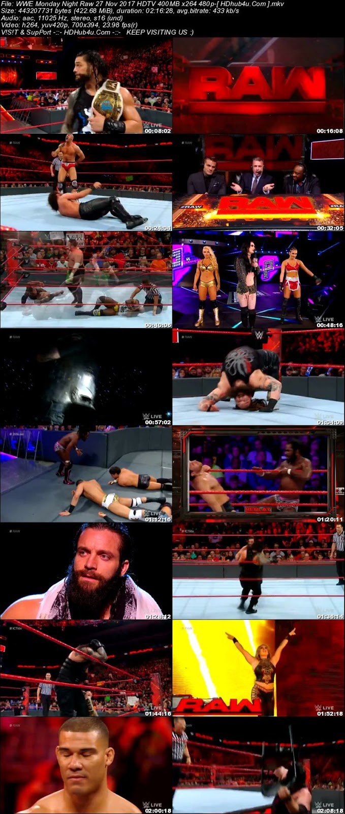 WWE Monday Night Raw 27 November 2017 480p HDTV 400MB Download