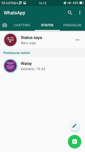 Cara update status dengan backround warna-warni di whatsapp