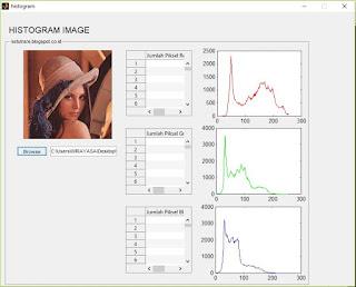 hasil tampilan histogram dan piksel citra digital
