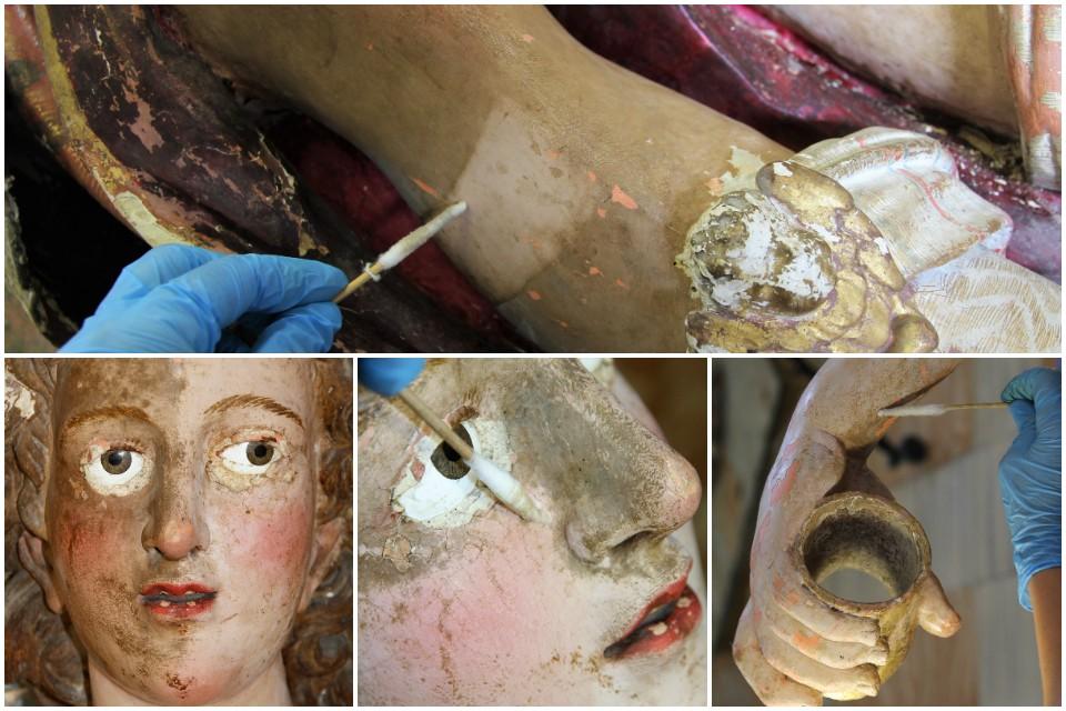 Limpieza química de las esculturas