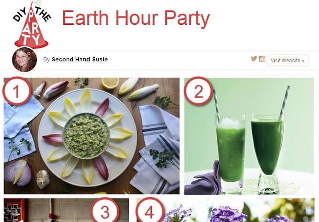 Earth hour party, eco friendly food, crafts and decorations from Cut and and Keep.  secondhandsusie.blogspot.com