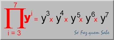 Produtório dos valores da variável y elevado a i com o i variando de 3 a 7