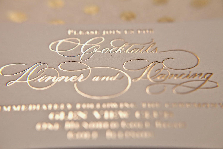 elegant winter wedding thermography wedding invitations Chicago custom wedding invitation
