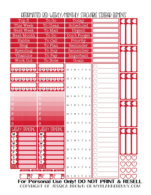 Free Printable Reformatted Monthly/Weekly Stackable Sidebar in Red from myplannerenvy.com