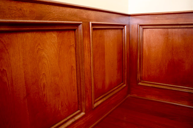 The Yellow Cape Cod: Rich Wood Judges Paneling~Den Makeover
