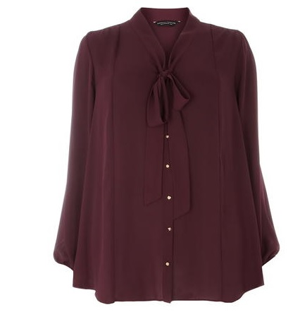 Wine Pussybow Top DP Dorothy Perkins Curve