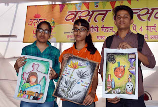 A painting competition was organised under the aegis of Basant Utsav at Gandhi Maidan in Patna on March 8, 2016. Photo: Aftab Alam Siddiqui