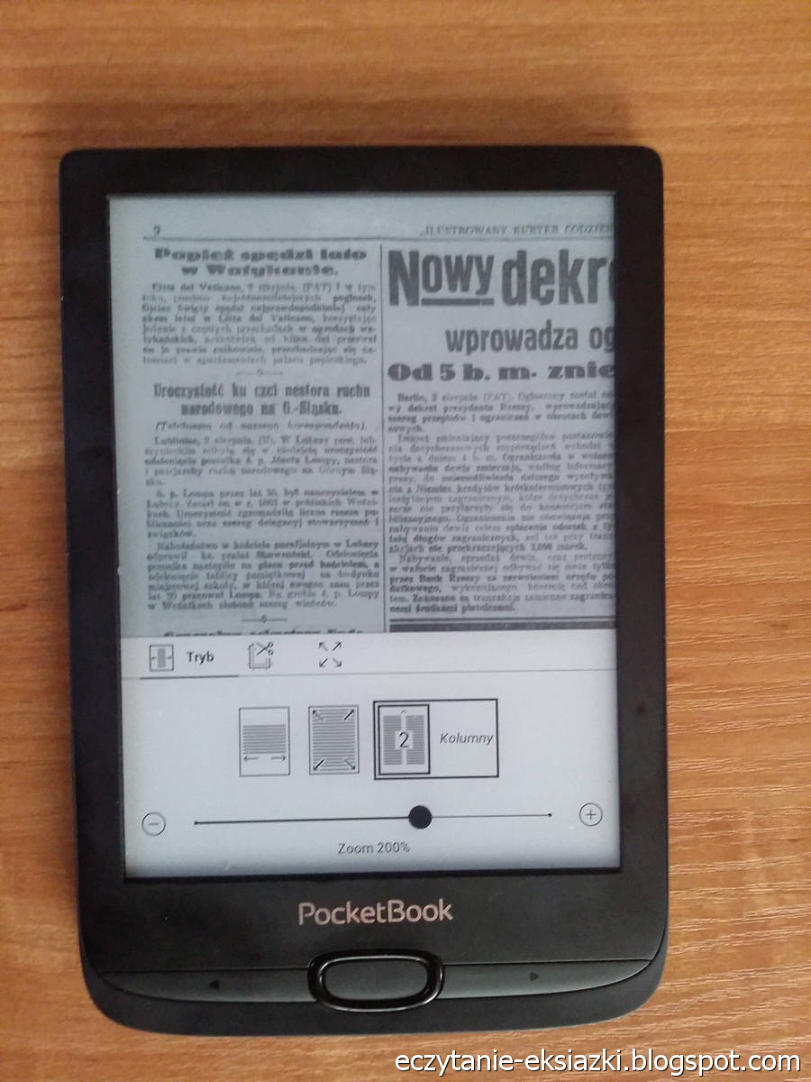 PocketBook Basic Lux 2 – plik DJVU ze stroną z gazety Ilustrowany Kuryer Codzienny w trybie kolumnowym