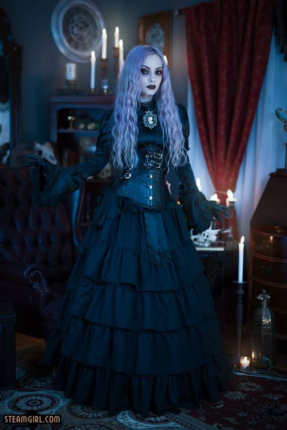 Steamgoth with lavendar purple hair wearing gothic victorian steampunk clothing. Women's steampunk fashion for steamgirl