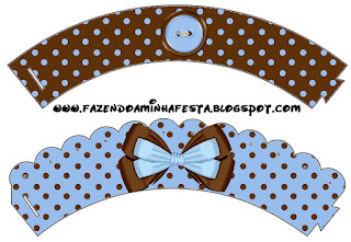 Brown and Light Blue: Free Printable Cupcakes Wrappers and Toppers.